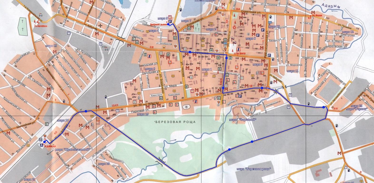 """Схема маршрута №6 """"Вещевой рынок-ул.Березовая роща-ж/д вокзал"""""""